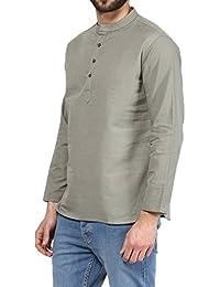 VIVIDS INDIA MEN'S Cotton Short Kurta (Light Grey , G-137 - $P)