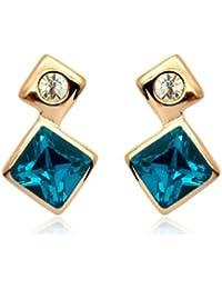 Regalo para mujer diseño de princesas Disney cuadrado azul con cristales de Swarovski Juego de pendientes de tuerca de cristal joyas Fashion