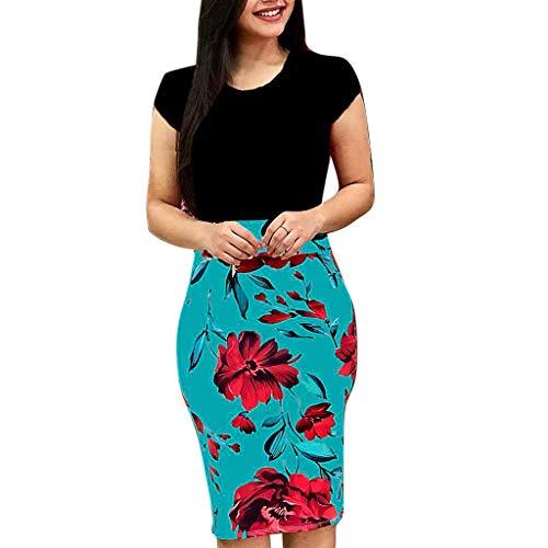 OIKAY Frauen Sommerkleid Blume Kurzarm Kleider Rock Mode sexy oansatz spleißen Blume Druck Buttock Dress