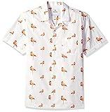 Amazon-Marke: 28 Palms Standard-Fit 100% Cotton Tropical Hawaiian Shirt Buttondown-Hemd, White/Pink Flamingo, Large