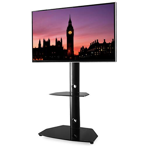 RFIVER Universal TV Ständer für 27-55 Zoll Fernsehtisch Rack Bodenständer Höhenverstellbar Schwenkbar mit Zwei Glas Regalen Schwarz TF7001