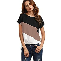 LIKELYY Women's Color Block Chiffon Short Sleeve Casual Blouse Shirts Tunic Tops