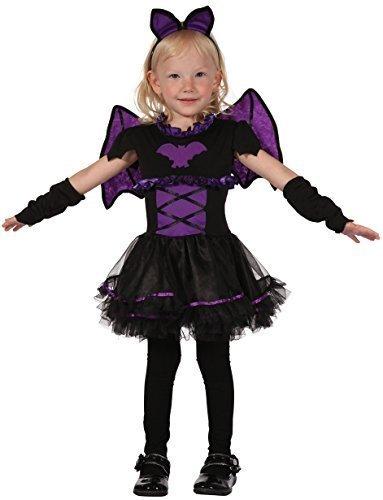 ädchen Schwarz Lila Vampir Fledermaus + Wings Halloween Kostüm Kleid Outfit 2-3 J - Schwarz, 2-3 years (Vampir Mädchen Kinder Kleinkind Kostüm)