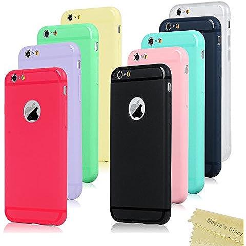 9x Funda iPhone 6s Silicona,Case iPhone 6/6s Transparente - Mavis's Diary Carcasa Cover Gel TPU Suave Bumper Shock-Absorción y Anti-Arañazos Protectora - (Azul + Amarillo + Verde + Negro + Transparente + Azul oscuro + Rosa Caliente + Púrpura +