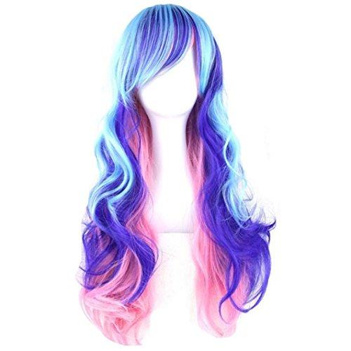 CLOCOLOR Perruque De Femme Longs Droits Cheveux Synthétique Naturelle Vagues Bleu clair ,Rose et Violet Résistant à la Chaleur Cosplay Costume Soirée