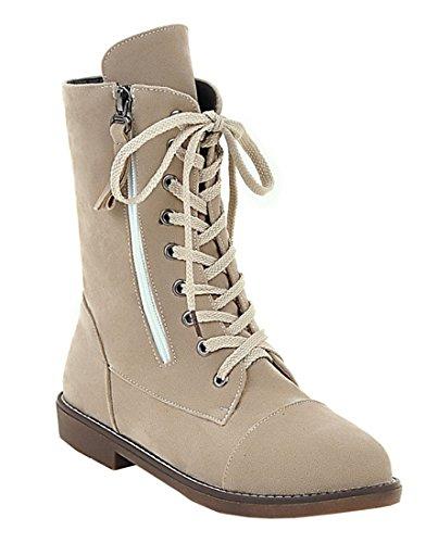 YE Damen Bequeme Flache Warm Gefüttert Kurzschaft Stiefel mit Schnürung und Reißverschluss Nubuck Winter Boots Beige