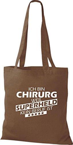 Shirtstown Stoffbeutel Ich bin Chirurg, weil Superheld kein Beruf ist mittelbraun