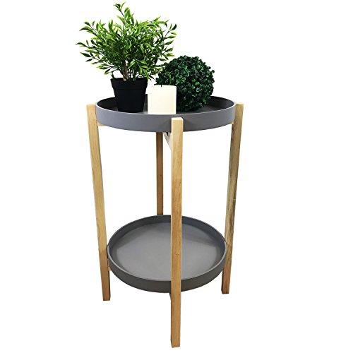Table d'appoint Table basse bois 4 branches en métal ronde en gris de naturel sur 2 niveaux Ø39 cm + H65 cm
