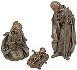 EverGreen 3-teilig Bronze Finish Mary, Joseph und Baby Jesus Outdoor Safe Garten Krippe