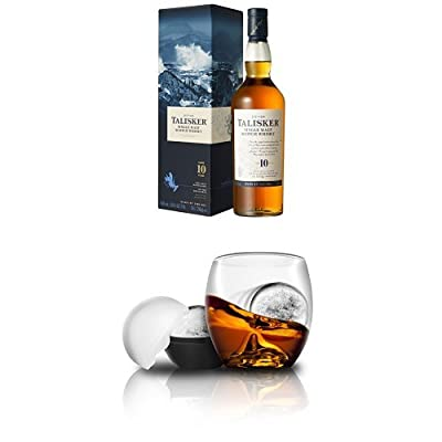 Bundle: Talisker 10 Year Old Single Malt Scotch Whisky 70cl and On the Rocks Whisky Tumbler & Ice Ball Mould
