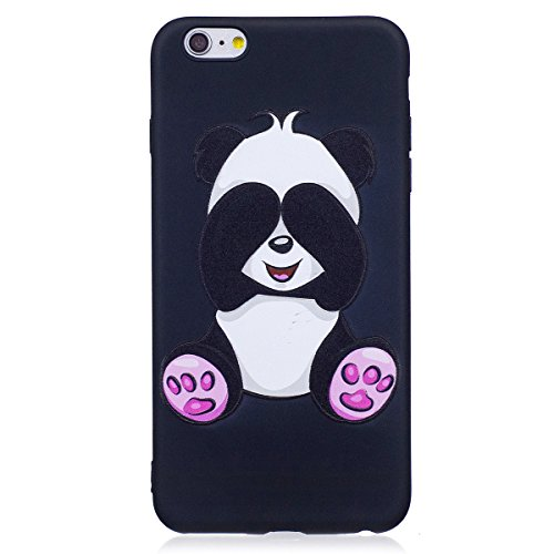 Coque pour iPhone 6 Plus/6S Plus Coque en Siliocne,iPhone 6 Plus Etui Coque Rose Romantique Élégant Fleur Motif,ETSUE iPhone 6 Plus Silicone Coque Luxueux Scintiller Bling Doux Coque Transparent Houss Charmant Panda