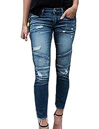Pantaloni Lunghi per Donna Moda Vita Media Slim Fit Pantaloni Strappato  Confortevole Skinny Jeans Streetwear Blu 41d754ef8ec