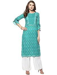 Janasya Women's Turquoise Cotton Straight Floral Print Kurti