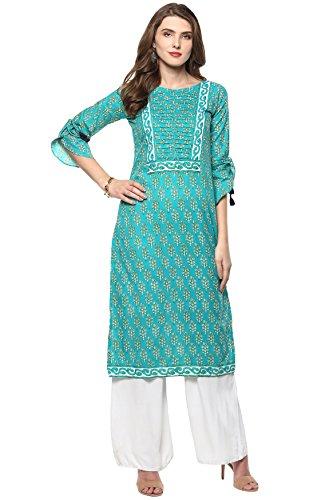 Janasya Women's Turquoise Cotton Straight Floral Print Kurti (JNE2153-KR-278-A-L)