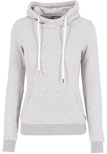 Urban Classics Damen Sweatshirt Kapuzenpulli Melange Shoulder Quilt Hoody grau (Grau) Medium -