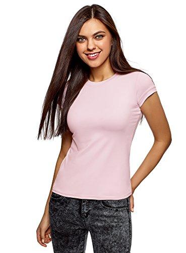 oodji Ultra Damen T-Shirt aus Stretch-Stoff mit Rundem Ausschnitt, Rosa, DE 42 / EU 44 / XL