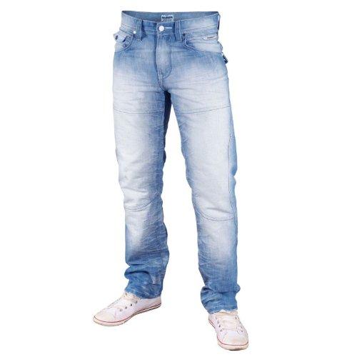 Mish Mash 1988 Ice Byron Herren Jeans - Blau, 30W - 34L (Blau-stich Gesäßtasche-jeans)