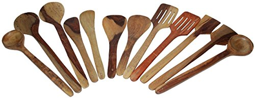 Worthy Shoppee Multipurpose Serving And Cooking Spoon Set For Non Stick Spoon For Cooking Essentials Wooden Cooking & Serving Spoon Set Of 12 Pcs | Wooden Kitchen Tools, Spatula And Ladle Set Includes 2 Skimmer(Jhara), 2 Ladles(Karchchi), 2 Slotted Palta, 2 Chapati Spoon(Palta), 2 Rice Palta, & 2 Spatula  available at amazon for Rs.249