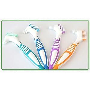 zantec tragbar Ergonomische Prothese Reinigungsbürste Mehrfache Borsten False Teeth Pinsel Oral Care Werkzeug