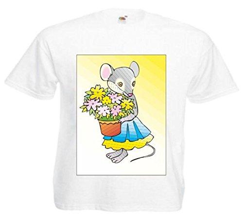 Motiv Fun T-Shirt Maus mit Blumentopf Cartoon Comic Zeichentrick Motiv Nr. 11511 Weiß