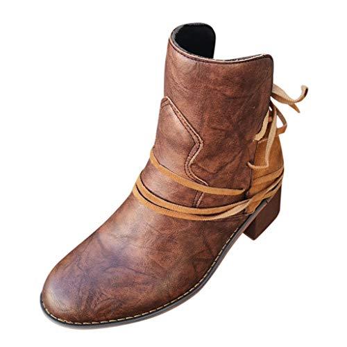 SEHRGUTGE Damen Vintage Ankle Boots - Niedrige Riemchen Westernstiefel Schuhe - Runde Kappe mit gestapeltem Blockabsatz (Schwarze Riemchen Mädchen Kostüm Heel Schuhe)