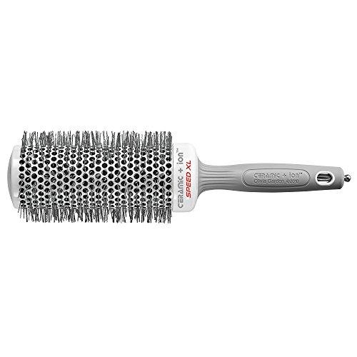 Olivia Garden Rund-Haar-Bürste Ceramic + Ion Speed XL 55/75 mm, langer Bürstenkörper für kürzere Föhnzeiten, antistatische Rundbürste (Ionen Haarbürste) zum Föhnen und Glätten langer Haare -