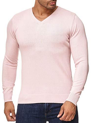 BARBONS Herren Pullover mit V-Ausschnitt - Slim-Fit - Hochwertige Baumwollmischung - Feinstrick-Pullover - Rosa M Rosa Pullover Shirt