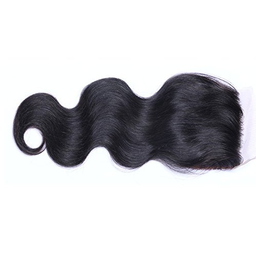 FYX 8A Tissages Extension Humain Cheveux 100%,Silk Base Closure Body Wave Brut Virgin Cheveaux Frontal Lace 4*4,Noir,Pour Femme(8\\