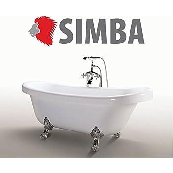 Vasca da bagno Margherita freestanding bianca con piedini colore argento vintage garantita 2 anni italia