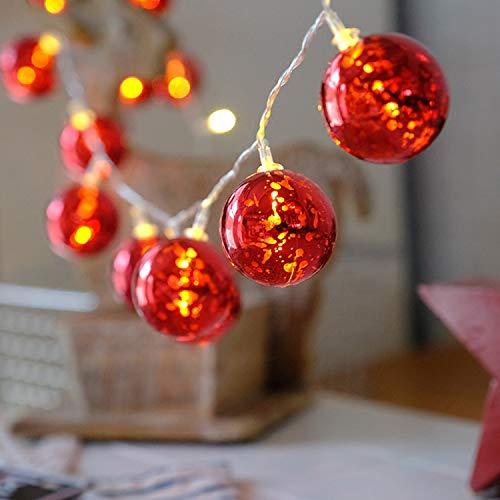 Xcxdx palla rossa a led a batteria a luce fata globo a batteria per bar, arredamento, albero di natale, cortile, esterno