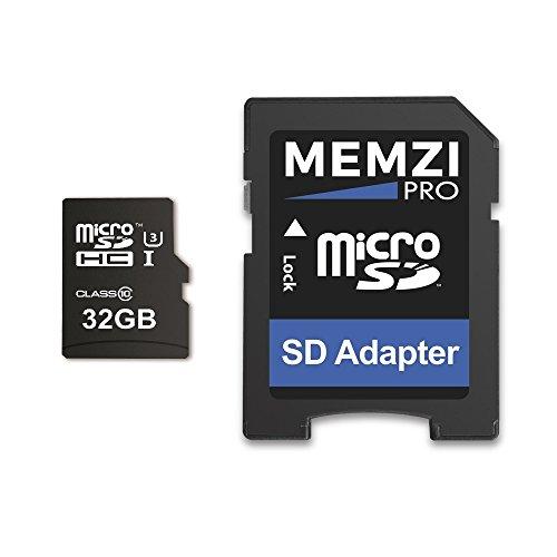 Memzi Pro 32GB Micro SDHC Speicherkarte für Akaso V50Native, Brave 4, ek7000, ek5000Action Kameras–High Speed Class 10UHS-I U395MB/s Lesen 60MB/s Schreiben 4K 2K 3D Full HD Aufnahme mit SD Adapter