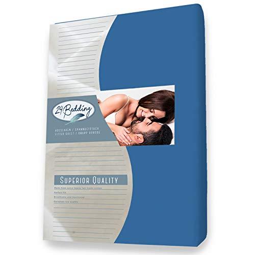 24-Bedding Drap Housse en éponge Stretch - ultra doux et extensible - pour un lit de 160x210 cm Bleu royal