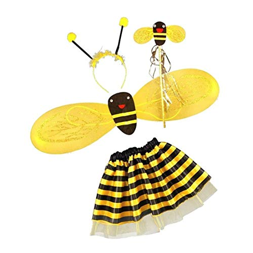Goodplan Durable 4Pc Bumble Bee Honig Mädchen Kinder Fee Halloween Fancy Dress Up Party - Honey Bee Kostüm Kinder