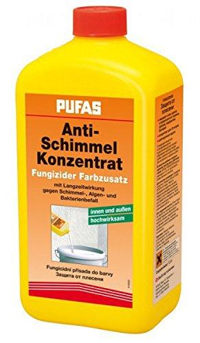 Pufas Fungizid Anti Schimmel Farbzusatz gegen Schimmel- Algen- Moosbefall (auch Kleisterzusatz Kleberzusatz) 1 Liter