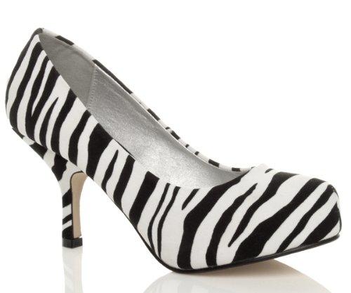 taille à Daim escarpins Zébre élégant moyen bas talon soignée chaussures Femmes travail vzBqtwqx