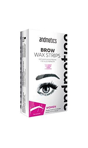 andmetics BROW wax strips: patentierte Augenbrauen Kaltwachs Enthaarung Streifen, perfekte Form zum Formen, Wachsen, Färben (Färbeschablone), ohne Augenbrauen zupfen (Augenbrauen Brow)
