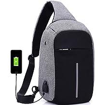 Mochila moderna y unisex con puerto de carga USB, diseño antirrobo y auriculares, de
