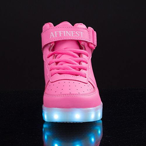 AFFINEST Kinderschuhe High Top LED aufladen Schuhe blinken Fashion Sneakers for boys girls Rosa