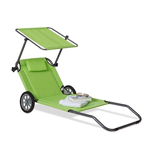Relaxdays 10020996_53 lettino da spiaggia con ruote sdraio prendisole pieghevole con parasole schienale regolabile max.120 kg verde
