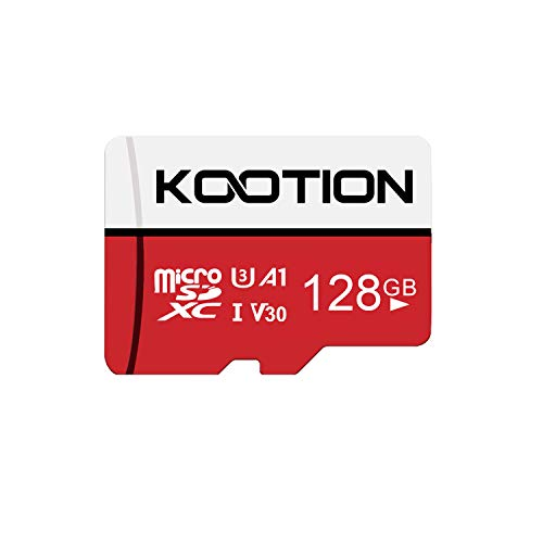 Kootion Micro SD Karte 128GB, SD Karte bis zu 85 m/s MicroSD Speicherkarte SDXC U3, V30, A1 Mini SD Memory Card, Weiß, Rot
