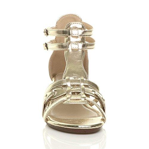 Femmes mi-bas talon compensé gladiateur romain salomé sandales pointure Or