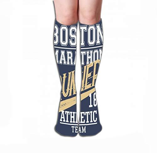 Xunulyn Hohe Socken Men Women Outdoor Sports High Socks Stocking Boston Marathon Runner Athletic Team Typographic Design Tile Length 19.7
