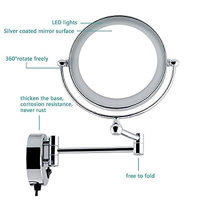 Auxmir Kosmetikspiegel mit LED Beleuchtung und 5-/7-facher Vergrößerung aus Kristallglas, Edelstahl und Messing, Doppelseitig, Rostfrei, Schminkspiegel Beleuchtet für Badezimmer, Hotel und Spa.