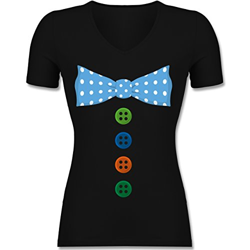 Karneval & Fasching - Clown Kostüm Blaue Fliege - XL - Schwarz - F281N - Tailliertes T-Shirt mit V-Ausschnitt für (Frauen Clown Kostüme)