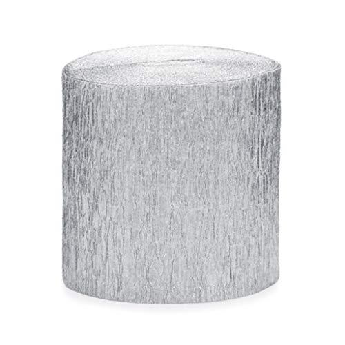 ück Rolle KREPP-Papier Rosen Aus Silber 5 cm x 10 M jeder total 40 M ()