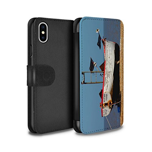 Stuff4 Coque/Etui/Housse Cuir PU Case/Cover pour Apple iPhone X/10 / Plage Design / Côte de la Colombie Collection Bateau Rouillé
