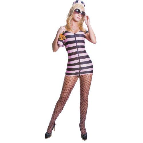 Gefängnis Prinzessin Kostüm Im - Dress Up America Erwachsene Sexy Rosa gestreiften Gefangenen Kostüm Set