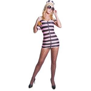 Dress up America - Disfraz de prisionera sexy para adultos, diseño rayas rosas (335-S)