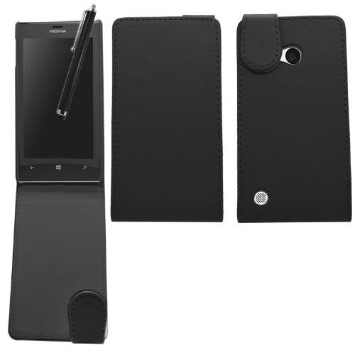 Samrick 0000431198 Speziell Ledernen Flip Schutzhülle mit Schirm Schutz, Microfasertuch und Aluminium Kugelschreiber für Nokia Lumia 720/720 RM-885 schwarz