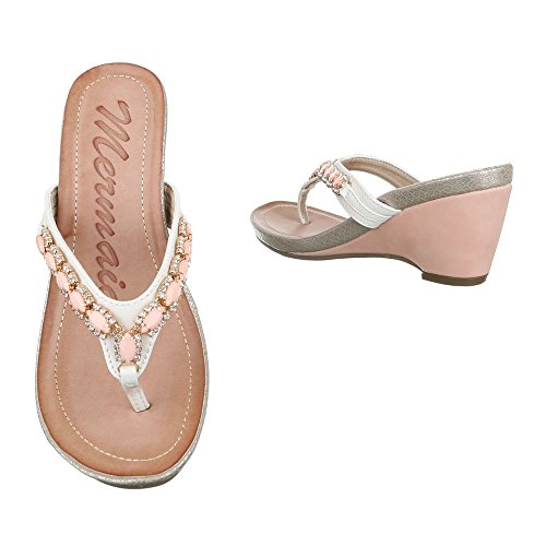 Ital-Design, Sandali donna bianco rosa